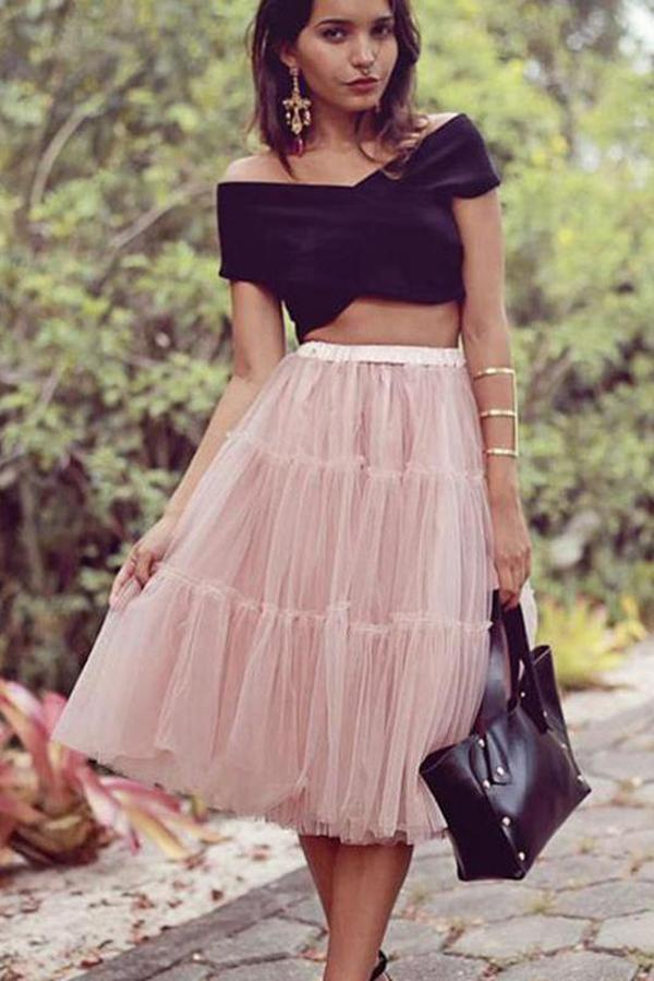 A Line Two Pieces Black and Pink Cheap Off the Shoulder Tulle Homecoming Dresses JS879