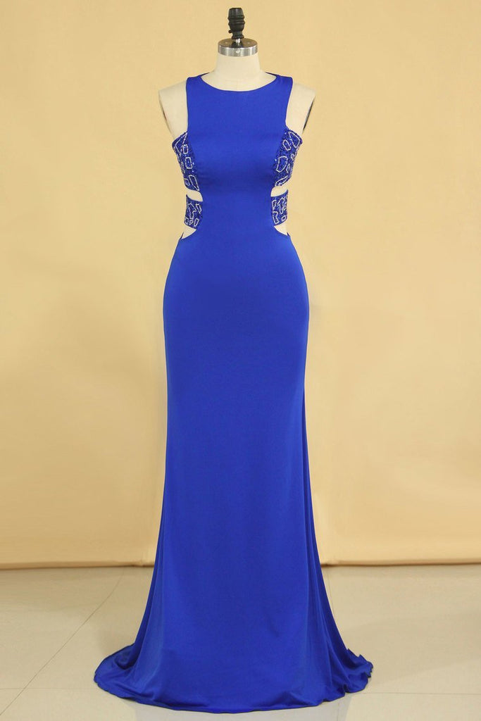Plus Size New Arrival Scoop Prom Dresses Dark Royal Blue Mermaid Spandex With Beading Sweep Train
