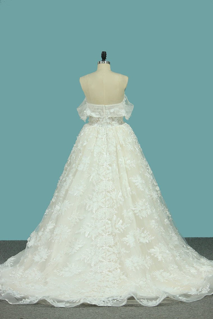 2021 A Line Lace Off The Shoulder Wedding Dresses Chapel Train New Arrival