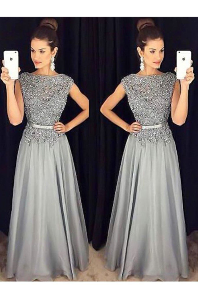 A-Line/Princess High Neck Long Sleeves Floor-Length Beading Chiffon Dresses