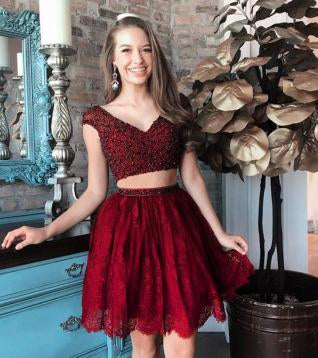 A Line Two Pieces V Neck Beads Burgundy Lace Short Prom Dresses Homecoming Dresses JS703