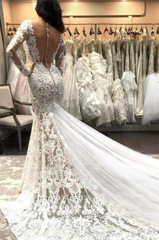 Mermaid V Neck Illusion Back Long Sleeves Ivory Tulle Court Train Wedding Dress with Lace JS845