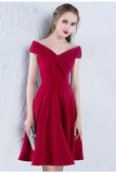 Cute A Line Red Off the Shoulder Satin Sweetheart Knee Length Homecoming Dresses JS898