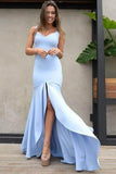 Elegant Mermaid Scoop Backless Blue Satin Sweetheart Slit Prom Dresses with Split JS71