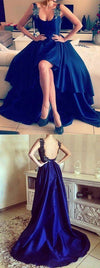 Asymmetrical Appliques Lace High Low Backless Royal Blue High Low Sexy Prom Dresses JS813