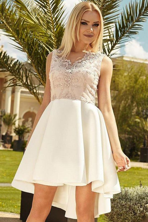 Cute Mini A Line Ivory High Low V Neck Lace Appliques Satin Homecoming Dresses JS994