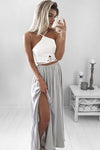 Elegant A-Line Elastic Satin Spaghetti Straps Backless Long Grey Prom Dresses with Split JS654