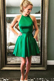 Cute A Line Halter Satin Green Open Back Short Homecoming Dresses with Beads JS951