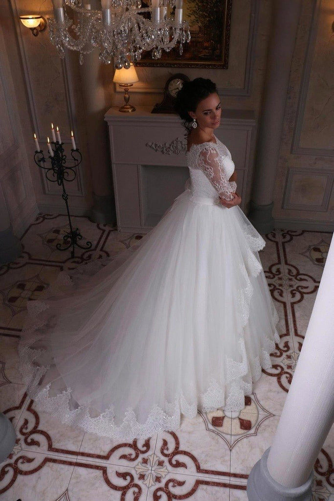 2021 3/4 Length Sleeve Wedding Dresses Ball Gown Tulle With Applique Sweep Train