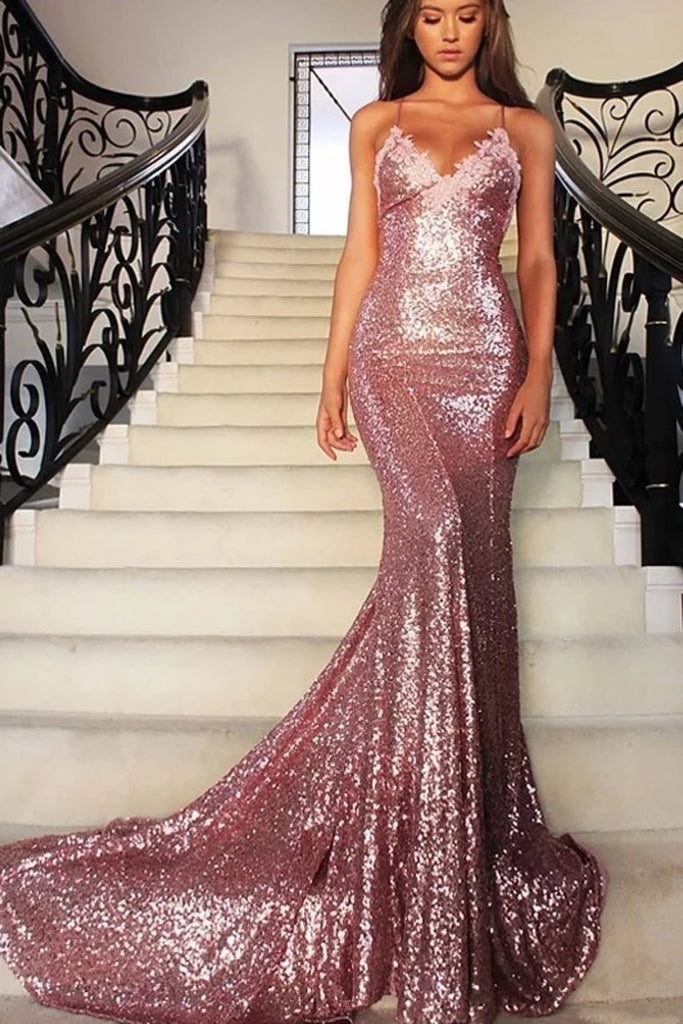 Trumpet/Mermaid Rose Gold Sequins Backless Prom Evening Dress