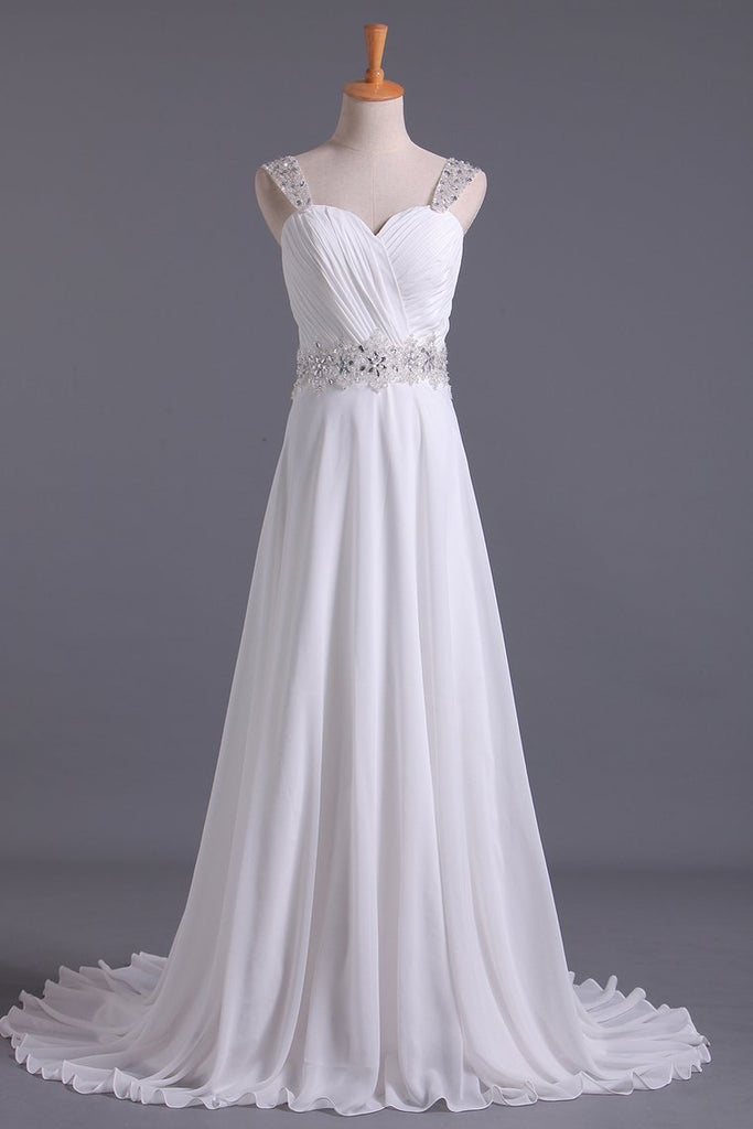 2019 White Wedding Dress Sweetheart A Line Pleated Bodice With Detachable Straps Beaded Chiffon