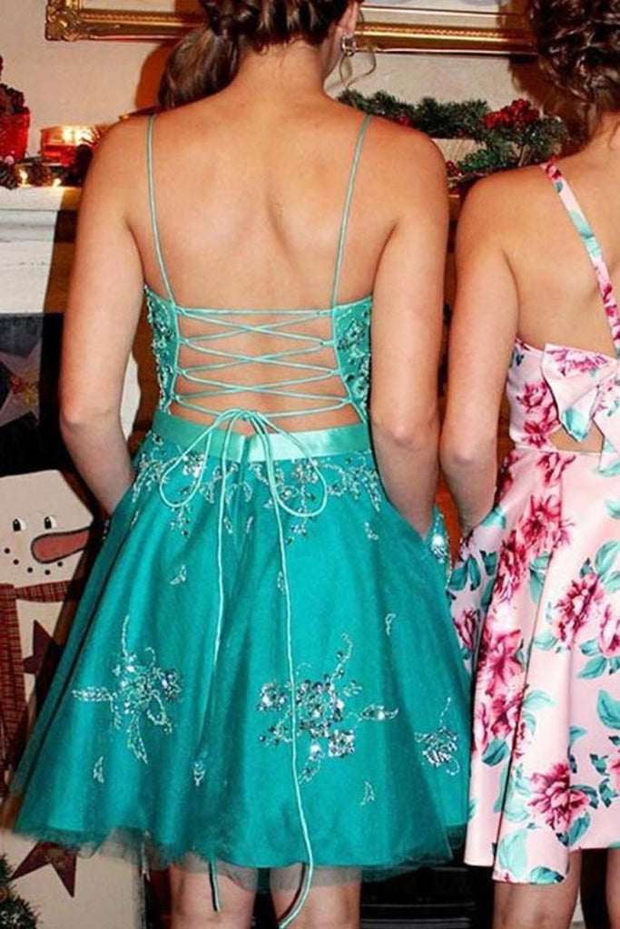A Line Spaghetti Straps Appliques Homecoming Dress