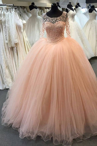Scoop Long Sleeves Ball Gown Sweetheart Tulle With Appliques