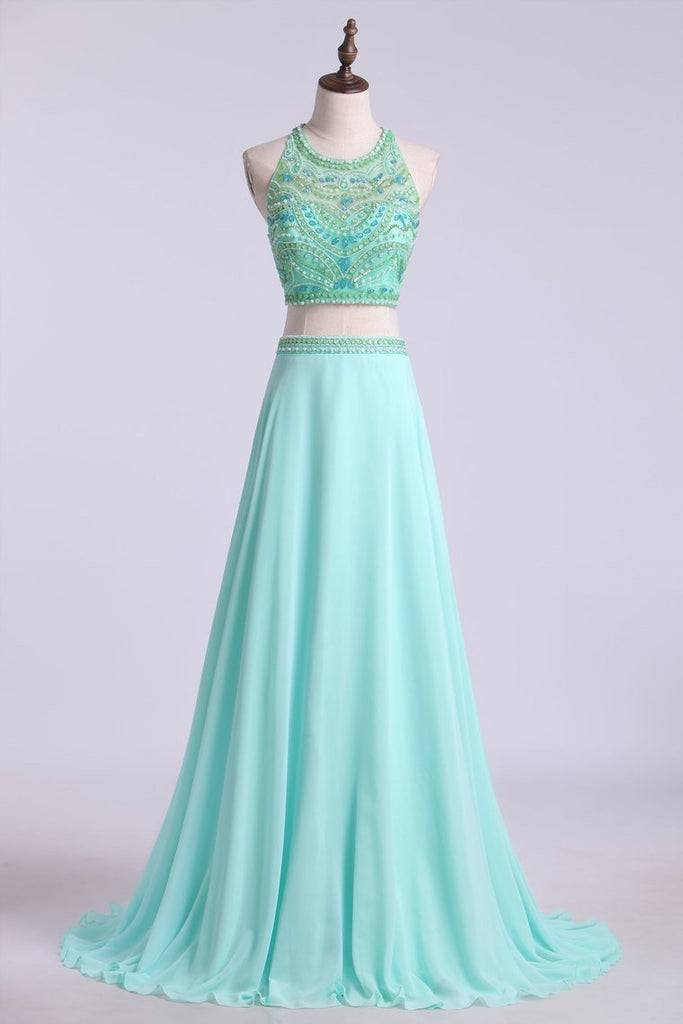 2019 Prom Dresses Two Pieces Halter A Line Chiffon Beaded Bodice
