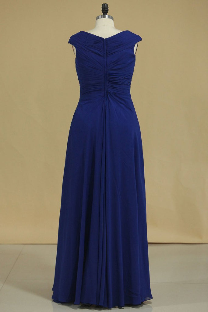 Dark Royal Blue A Line Cowl Neck Prom Dresses Chiffon With Applique And Beads