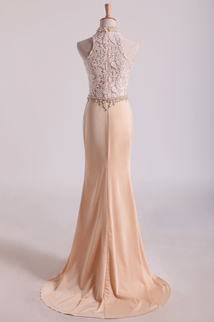 2019 High Neck Prom Dresses Sheath Lace & Spandex Sweep Train
