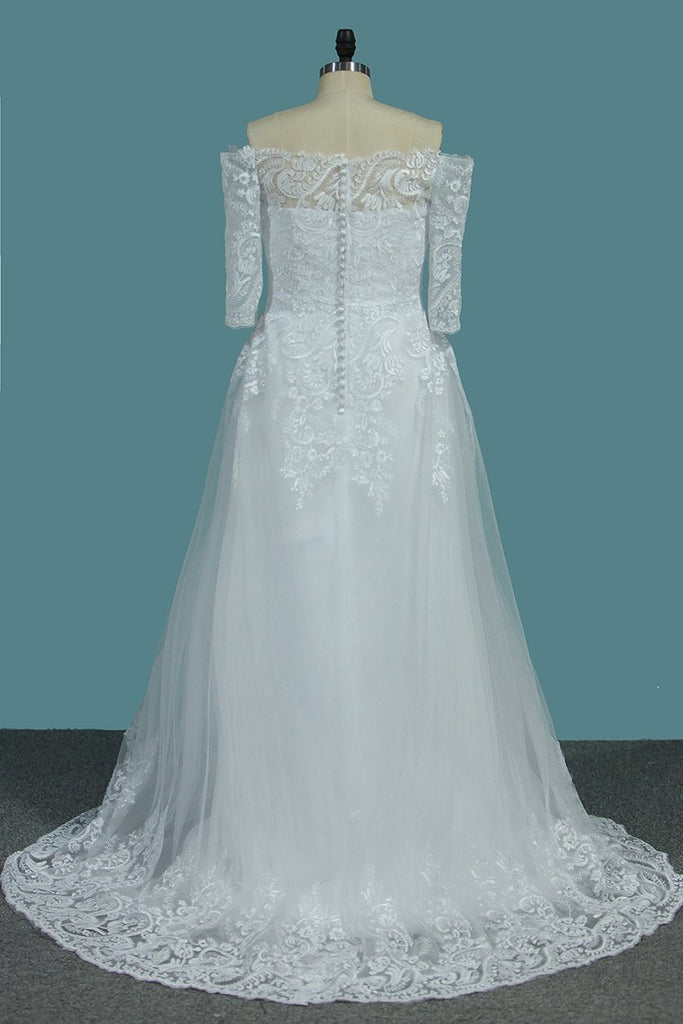 Tulle A Line Boat Neck 3/4 Length Sleeves Wedding Dresses With Applique