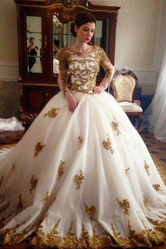 Ivory And Gold Lace Beading Tulle Long Sleeves Ball Gowns Wedding Dresses