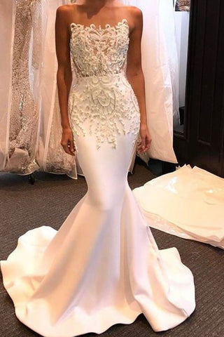2021 New Arrival Satin Wedding Dresses Mermaid Scoop With Appliques And Beads