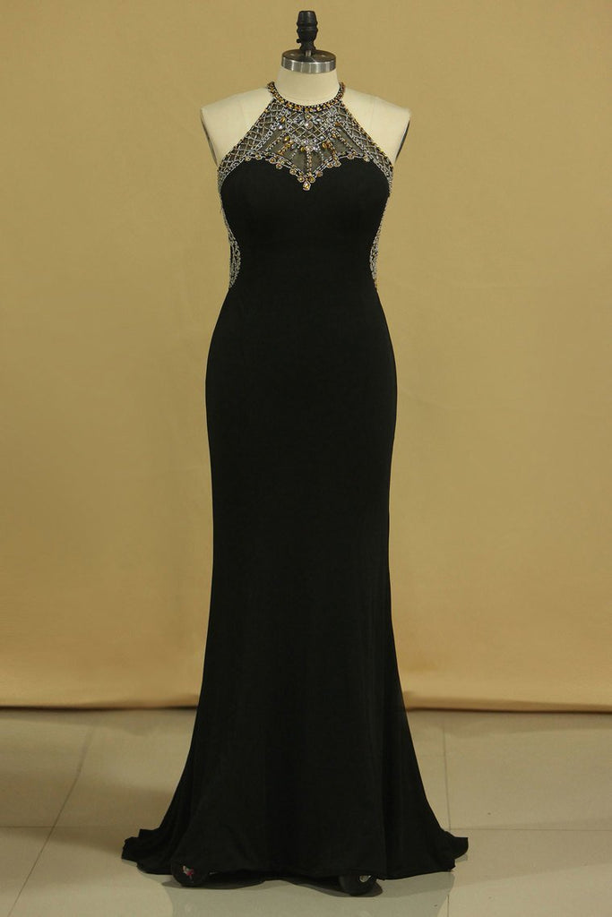 Scoop Sheath Floor Length Prom Dresses Spandex With Beading