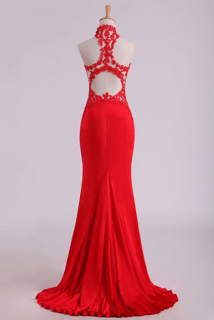 2019 Red High Neck Open Back Prom Dresses With Applique Sweep Train Spandex