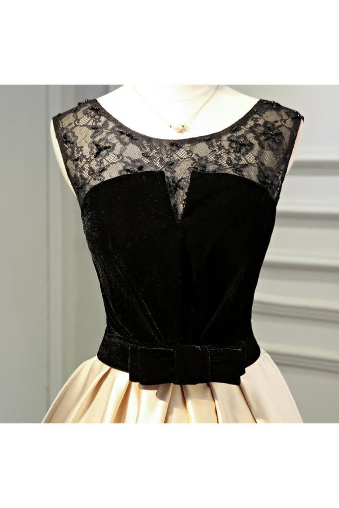 A Line Round Neck Satin Short Homecoming Dresses With Black Lace