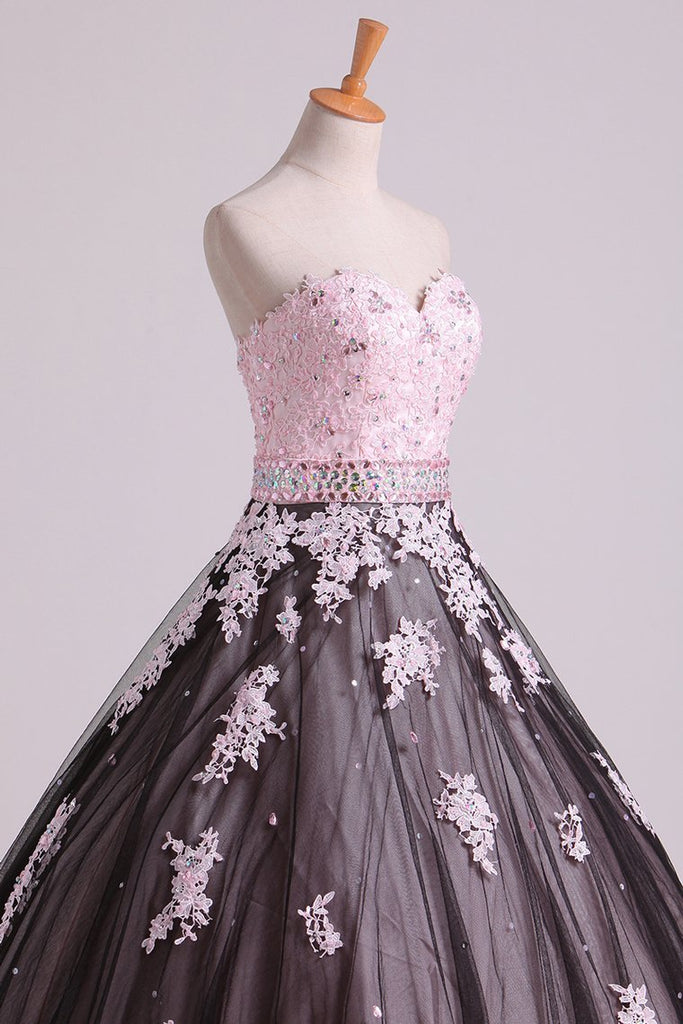 2019 Quinceanera Dresses Sweetheart Tulle With Beading And Applique Floor Length