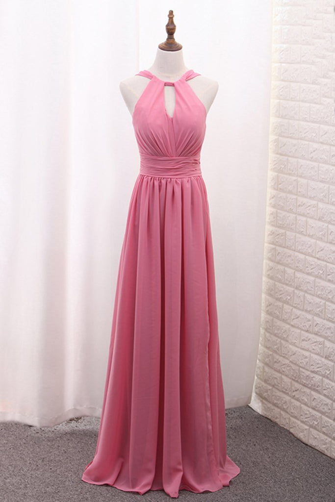 Chiffon Bridesmaid Dresses Scoop A Line Floor Length With Ruffles And Slit