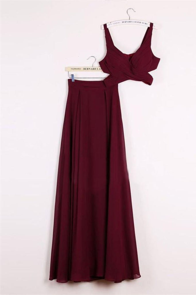Simple Cheap Long 2 Pieces Chiffon A-Line Burgundy Prom Dresses