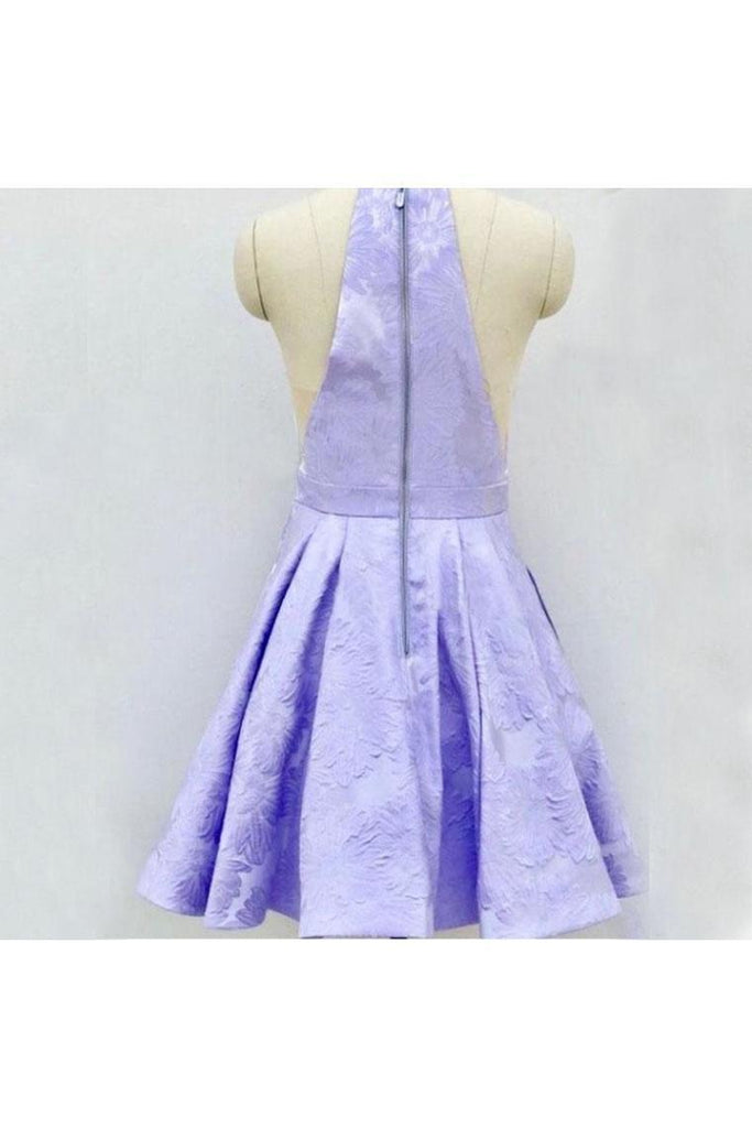 A-Line Above-Knee Lilac Satin Printed Homecoming Dress With Pockets