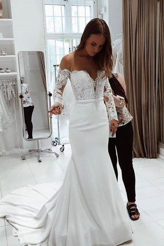 Wedding Dresses Mermaid Scoop Long Sleeves With Applique Satin