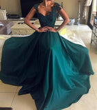 Elegant Beaded Peacock Green V Neck Long Satin Open Back Prom Dresses JS98