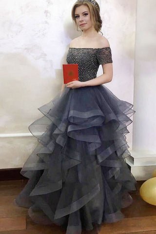 Modest Off The Shoulder Long Elegant Gray Beading Ball Gown Prom Dresses