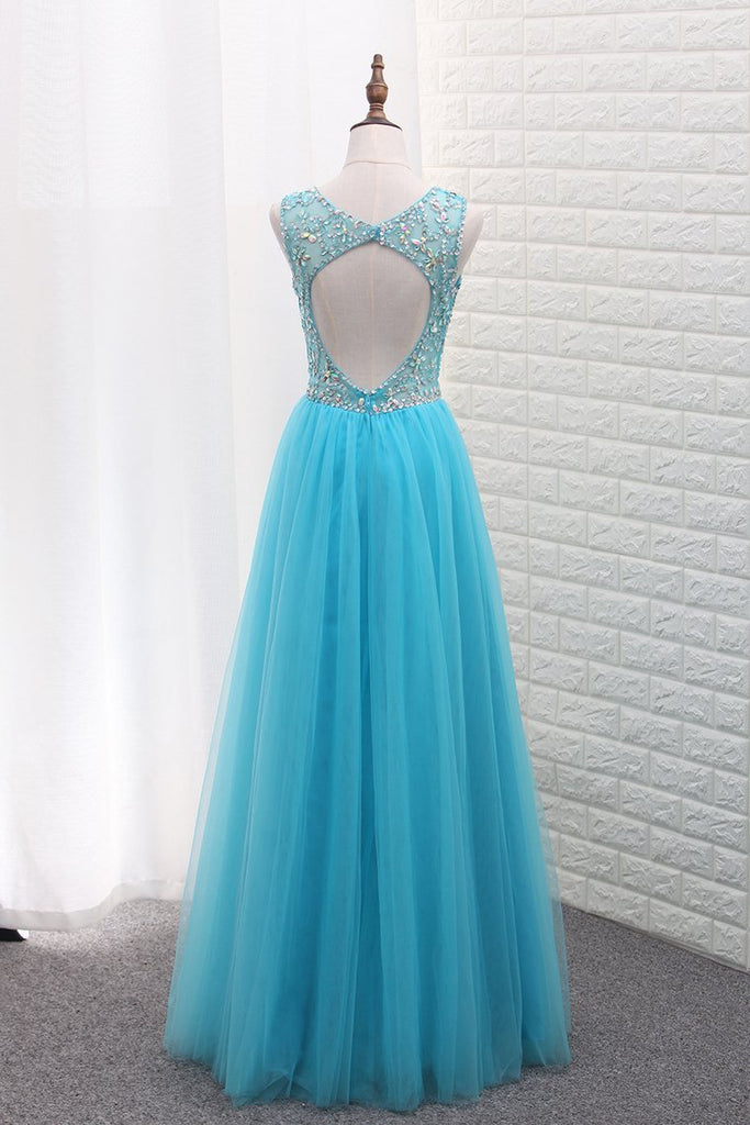2021 A Line Tulle Bateau Open Back Beaded Bodice Floor Length Prom Dresses