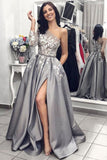 2021 Ball Gown One Shoulder Long Sleeves Grey Satin Split White Lace Long Prom Dresses With Pockets Prom Dresses