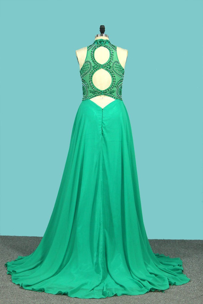 2019 High Neck A Line Chiffon Beaded Bodice Open Back Prom Dresses