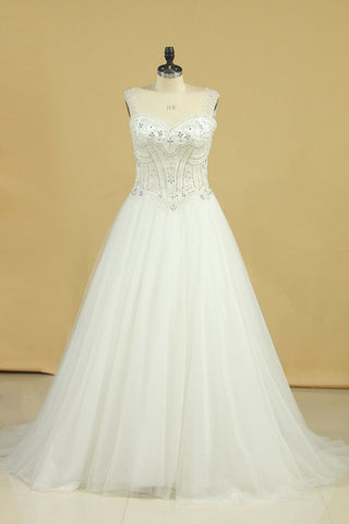 2019 Plus Size A Line Straps Wedding Dresses Tulle With Beading Chapel Train