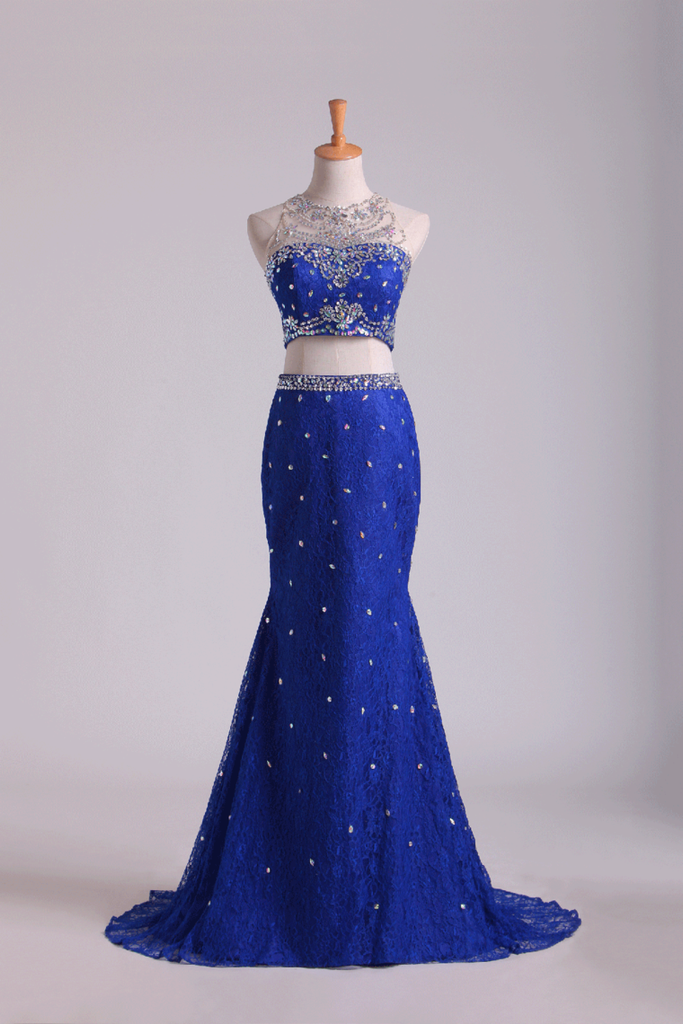 Two-Piece Scoop Mermaid Prom Dresses With Beading Lace Dark Royal Blue