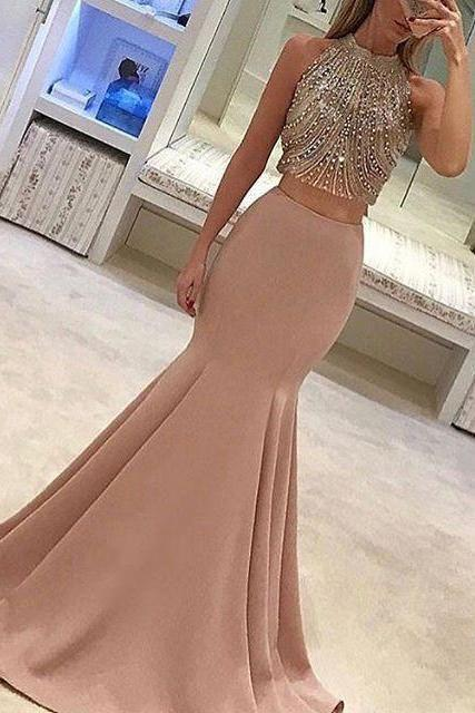 Backless Beaded Mermaid Fashion Prom Dress Sexy Party Dress New Style Evening Dresses UK JS352