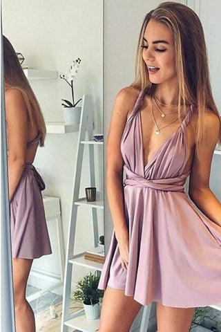 A Line Deep V Neck Above Knee Blush Pink Criss Cross Chiffon Homecoming Dresses SSM840