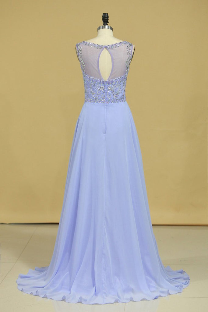 2019 Beautiful Scoop A Line Prom Dresses With Beading Floor Length Chiffon Size 8