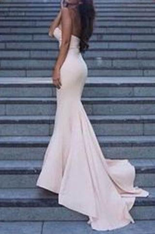 Sweetheart Strapless Prom Dresses Simple Long Mermaid Satin Evening Gowns JS116
