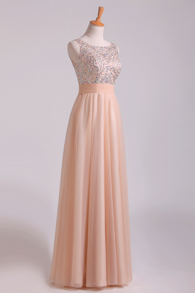 Scoop Prom Dresses A Line Tulle With Beading Floor Length