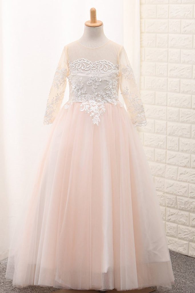 2021 Ball Gown Scoop Long Sleeves Flower Girl Dresses Tulle With Aplique