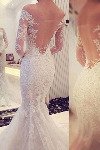 Elegant Mermaid Wedding Dresses Off The Shoulder With Appliques Long Sleeves Zipper Up