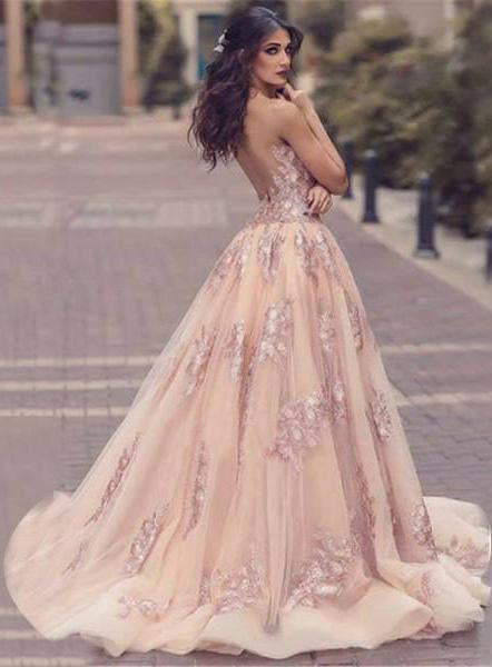 Sexy Deep V Neck Mermaid Tulle Lace Appliques Slit Front Backless Princess Prom Dresses JS742