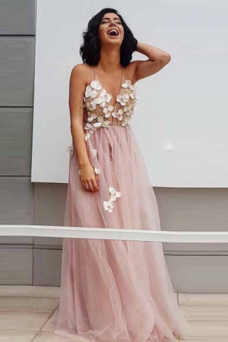 Elegant A-Line Spaghetti Straps Long Pearl Pink Appliques V Neck Backless Prom Dresses JS687
