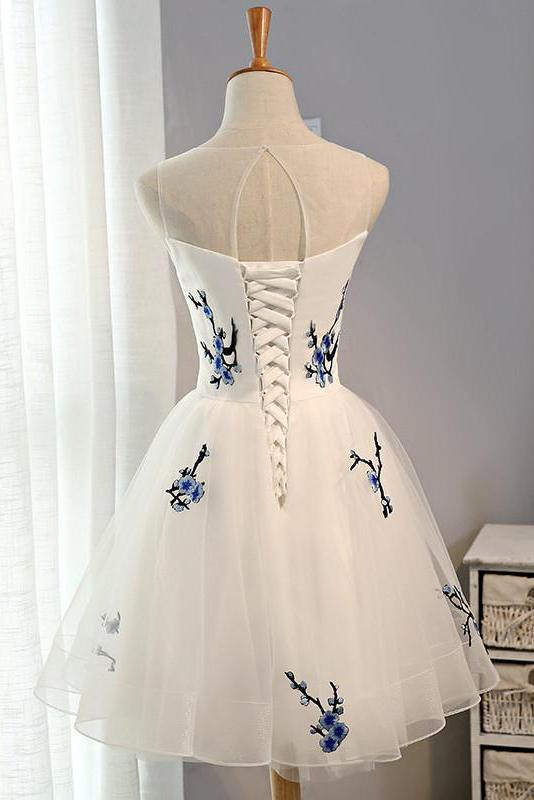 A Line Tulle Ivory Lace up Open Back Scoop Flowers Knee Length Homecoming Dresses JS46