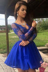 Charming A Line V Neck Long Sleeves Royal Blue Lace Short Homecoming Dresses JS979