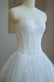 Ball Gown Strapless Lace Appliques A Line Chapel Train Wedding Dress with Beading JS297